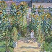 The Artists Garden At Vetheuil Poster