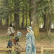 The Artist's Wife And Daughters In A Park At Heringsdorf Poster