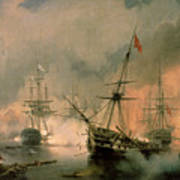 The Battle Of Navarino Poster by Ivan Konstantinovich Aivazovsky