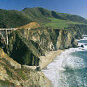 The Beach And Shoreline Along Highway 1 Poster by Phil Schermeister