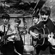 The Beatles In London 1963 Black And White Painting Poster