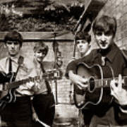 The Beatles In London 1963 Sepia Painting Poster