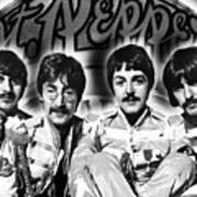 The Beatles Sgt. Pepper's Lonely Hearts Club Band Painting And Logo 1967 Black And White Poster