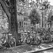 The Bicycles Of Amsterdam In Black And White Poster