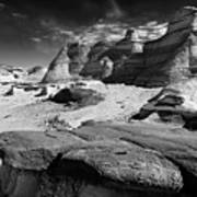 The Bisti Badlands - New Mexico - Black And White Poster