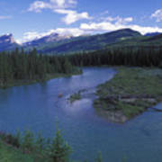 The Bow River And Castle Mountain Poster