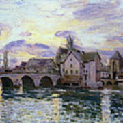 The Bridge Of Moret At Sunset Poster