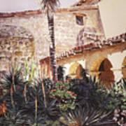 The Cactus Courtyard - Mission Santa Barbara Poster by David Lloyd Glover