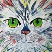 The Cat Got In My Paint Poster