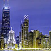 The Chicago Skyline Night-panoramic-001 Poster