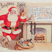 The Christmas Spirit Vintage Card Santa Next To Fireplace Poster