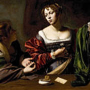 The Conversion Of The Magdalene Poster by Michelangelo Merisi da Caravaggio