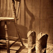 The Cowgirl Boots And The Old Chair Poster