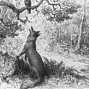 The Crow And The Fox Poster by Gustave Dore