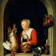The Dutch Housewife Or The Woman Hanging A Cockerel In The Window 1650 Poster
