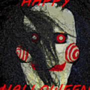 The Face Halloween Card Poster