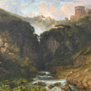 The Falls Of Tivoli With The Temple Of Vesta  Poster