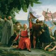 The First Landing Of Christopher Columbus Poster