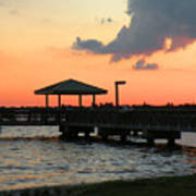 The Fishing Dock At Sunset Poster