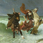 The Flight Of Gradlon Mawr Poster by Evariste Vital Luminais