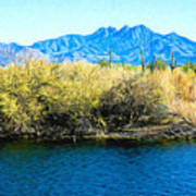 The Four Peaks From Saguaro Lake Poster