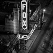 The Fox Thearter Bw Atlanta Night Art Poster