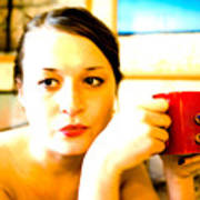 The Girl With A Red Cup  Poster
