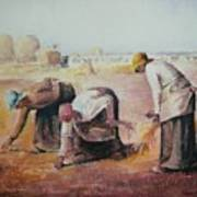 The Gleaners After Millet By My Dad Poster