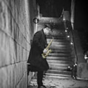 The Golden Saxophone Player Poster