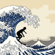 The Great Surfer Off Kanagawa Poster