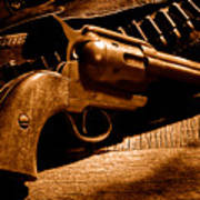 The Gun That Won The West - Sepia Poster