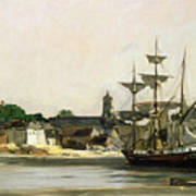 The Harbour At Honfleur Poster by Karl Pierre Daubigny
