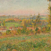 The Hills Of Thierceville Seen From The Country Lane Poster