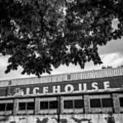 The Icehouse - Black And White - Bentonville Market District - Square Print Poster