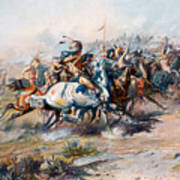 The Indian Encirclement Of General Custer At The Battle Of The Little Big Horn Poster