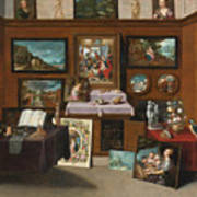 The Interior Of A Picture Gallery With Connoisseurs Admiring Paintings Poster