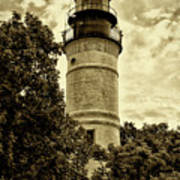 The Key West Lighthouse In Sepia Poster