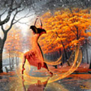 The Last Dance Of Autumn - Fantasy Art  Poster