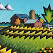 The Little Farm On The Grassy Hill Poster
