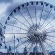 The Liverpool Wheel In Blues Poster