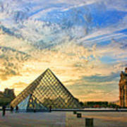 The Louvre At Sunset Poster