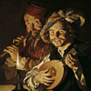 The Lutenist And The Flautist Poster