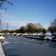 The Macclesfield Canal At Poynton In Winter And Frozen  Cheshire England Poster