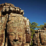 The Many Faces Of Bayon Temple, Angkor Thom, Angkor Wat Temple Complex, Cambodia Poster