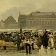 The Market In Antwerp Poster