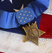 The Medal Of Honor Rests On A Flag Poster