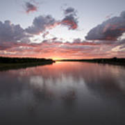 The Missouri River At Sunset Reflects Poster