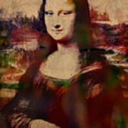 The Mona Lisa Colorful Watercolor Portrait On Worn Canvas Poster