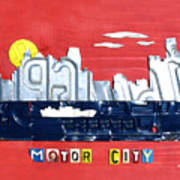 The Motor City - Detroit Michigan Skyline License Plate Art By Design Turnpike Poster