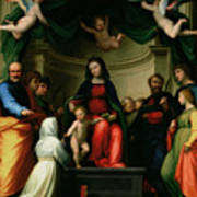 The Mystic Marriage Of St Catherine Of Siena With Saints Poster